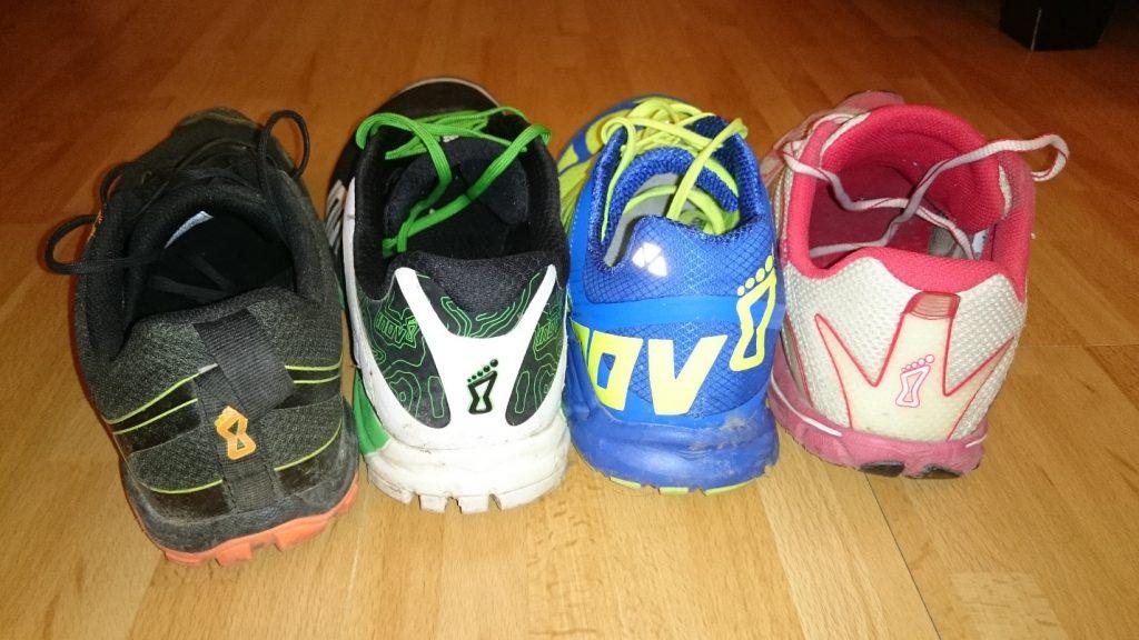 Obrázok 6: Zvršok X-treme 250 za achilovkou je minimálne o 1cm vyšší v porovnaní s ostatnými topánkami. Ostatné topánky v tejto štvorici však sú tak na achilovke podľa mňa pohodlnejšie. Zvýšená päta však neprekáža.